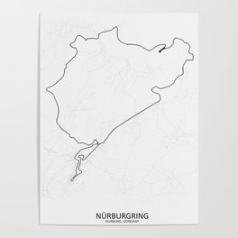 Nürburgring Nordschleife and GP Track Circuit Map Poster
