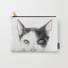 Cat, black and whiteDog illustration original painting print Carry-All Pouch