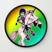 roller derby Wall Clocks featuring Roller Derby Unicorn by RonkyTonk