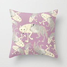 Totem Artic Wolf lilac Throw Pillow