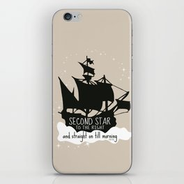 Second star to the right and straight on till morning - Peter Pan Inspired Art Print  iPhone Skin