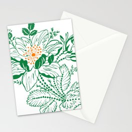Japanese Style Green with Orange Flowers Stationery Cards