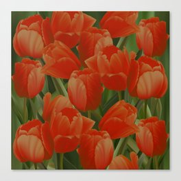 Red Tulips Field Canvas Print