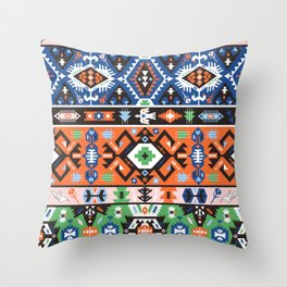 Tribal chic seamless colorful patterns Throw Pillow