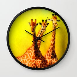 The Welcoming Committee - 3 Giraffes Wall Clock
