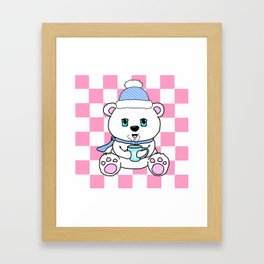 Polar Bear Drinking Hot Chocolate Framed Art Print
