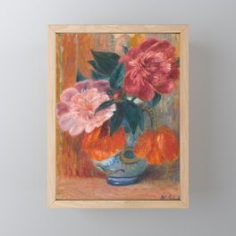 Tulips and Peonies in Pitcher,  Floral Oil Painting Framed Mini Art Print
