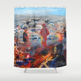 The Band Played To The Flock Shower Curtain