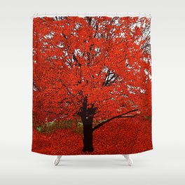 TREES RED Shower Curtain