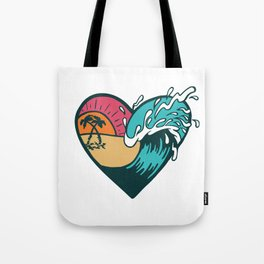 Wave Heart Tote Bag