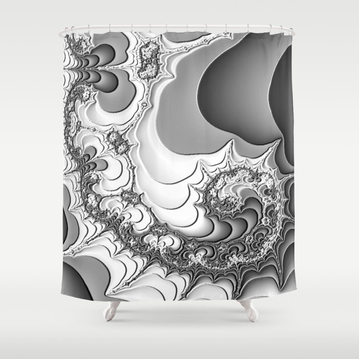 Abstract Art Black And White Fractal Psychedelic Shower Curtain