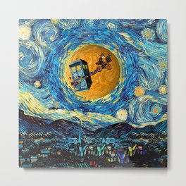 4th Doctor who starry night iPhone 4 5 6 7 8, pillow case, mugs and tshirt Metal Print