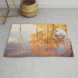 Autumn Trees Reflection Photography, Fall Tree Nature Orange Gold Yellow Purple, Water Reflections Rug