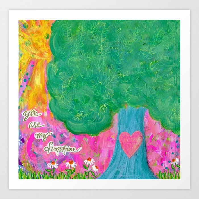 You Are My Sunshine Tree Painting S Room Decor Mixed Media Nursery Daisies Art Print By Jilllambert