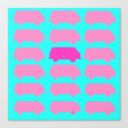 Repeating Westfalia Painted Photo Image Neon Pop-Art Canvas Print