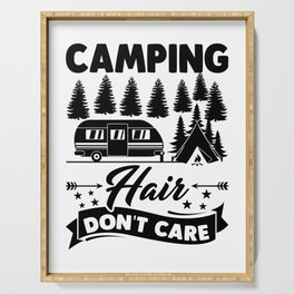 Camping Hair Dont Care v2 bw Serving Tray
