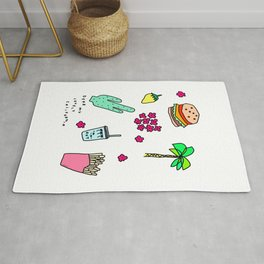 Dear My Lovely California - Burger Cactus Palm Tree Tropical Pattern Rug