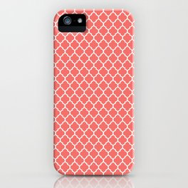 Coral White Quatrefoil Pattern iPhone Case