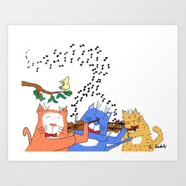 Cats with Violins Art Print