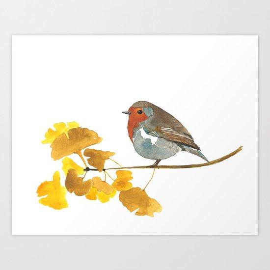Enlightenment English Robin Watercolor Art Print