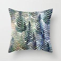 Watercolour Ferns Throw Pillow