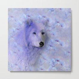 WOLF BLUE LILAC PURPLE FLOWER SPARKLE Metal Print