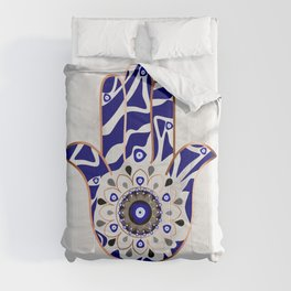 Talk to the Evil Eye Hamsa Hand Comforters