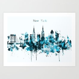 New York Monochrome Blue Skyline Art Print