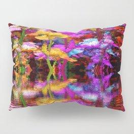 PURPLE-WHITE IRIS  WATER GARDEN  REFLECTION Pillow Sham