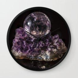 Amethyst crystal ball on Amethyst crystals Wall Clock