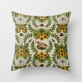 Wetlands Creatures - Toads, Snails, Dragonflies & Marsh Marigolds Throw Pillow
