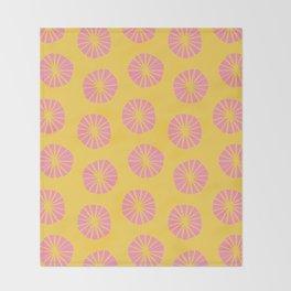 Mod Scandinavian Dandelions in Yellow + Pink Throw Blanket