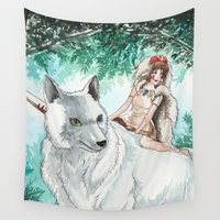 princess mononoke Wall Tapestries featuring Princess Mononoke by VivianLohArts