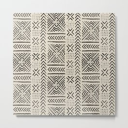 Line Mud Cloth // Bone Metal Print