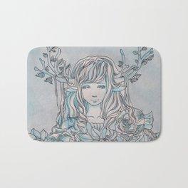 Reindeer Girl-White Christmas Bath Mat