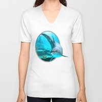 dolphin V-neck T-shirts featuring Dolphin by Simone Gatterwe