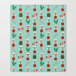 Peppermint Latte mint gender neutral coffee lovers gift for christmas food traditions to remember Canvas Print