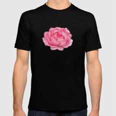 Rose on mint SMALL Black Mens Fitted Tee