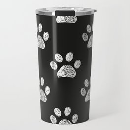 Doodle white paw print seamless fabric design repeated pattern Travel Mug