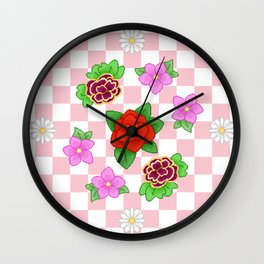 Pixel Flower Pattern Wall Clock