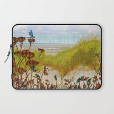Plaid Beachscape with Dragonflies Laptop Sleeve
