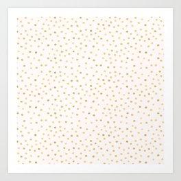 Golden Dots White Art Print