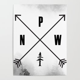 PNW Pacific Northwest Compass - Black and White Forest Poster
