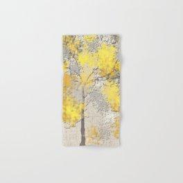 Abstract Yellow and Gray Trees Hand & Bath Towel