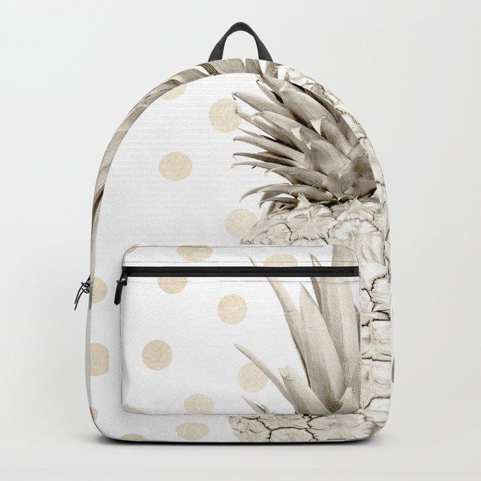 Gold Pineapple Polka Dots 1 Backpack