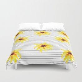 Yellow Daises on Minimal Black and White Stripes Duvet Cover