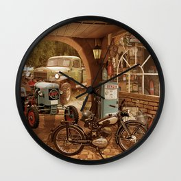 Nostalgic garage with tractor and motorcycle Wall Clock