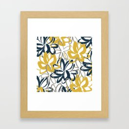 Lotus Garden Painted Floral Pattern in Light Mustard Yellow, Navy Blue, and Gray on White Framed Art Print