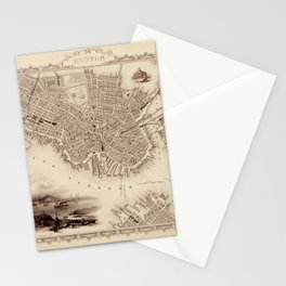 Map Of Boston 1838 Stationery Cards