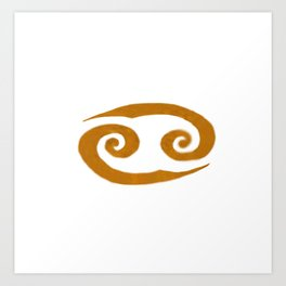 Cancer Golden Zodiac Symbol Art Print